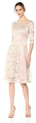 Sangria Women's 3/4 Sleeve Shimmer Lace Party Dress