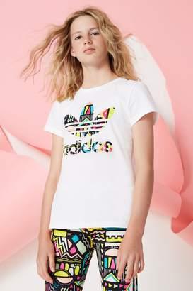 adidas Girls Whie Aztek Trefoil Tee - White