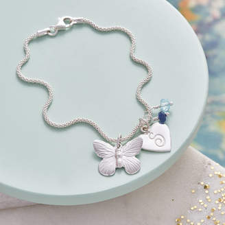 Claudette Worters Butterfly Charm Bracelet With Birthstones