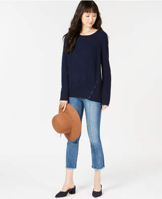 Charter Club Pure Cashmere Cable-Knit Button-Trim Sweater