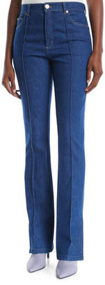 Escada High-Rise Boot-Cut Zip-Cuffs Jeans w/ Seam Details