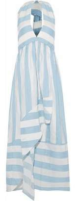 Paper London Bianca Draped Taffeta And Gauze Halterneck Maxi Dress