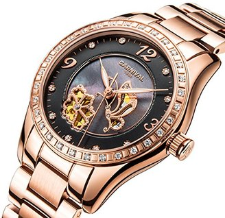 Carnival カーニバルレディース自動機械腕時計インレーラインストーン母のパールダイヤルシックバタフライフラワー Rose Gold Black