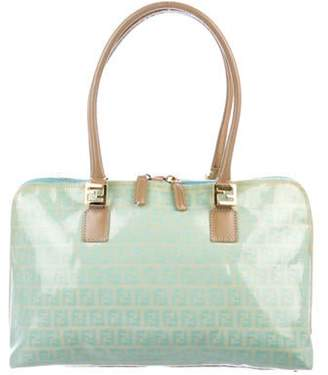 Fendi Leather-Trimmed Zucchino Tote Turquoise Leather-Trimmed Zucchino Tote