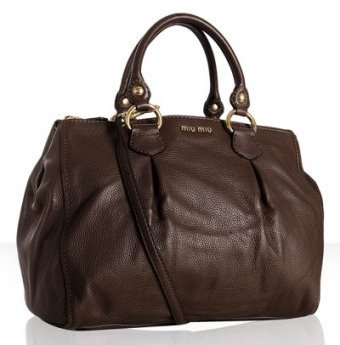 Miu Miu brown leather pleat detailed large tote