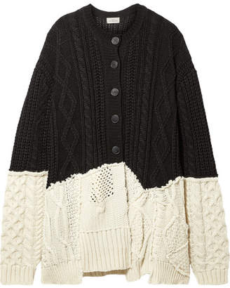 Preen by Thornton Bregazzi Myra Paneled Cable-knit Wool-blend Cardigan - Black