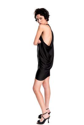 Max Studio silk charmeuse draped dress