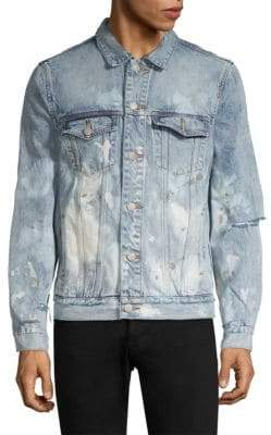 Purple Brand Purple Brand Men's Core Denim Paint Splatter Jacket - Light Wash - Size Small