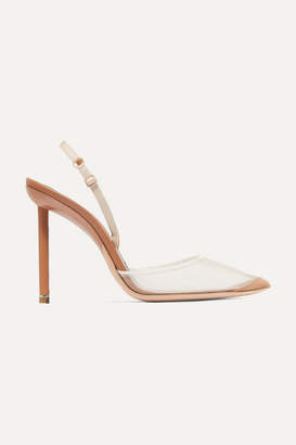 Alexander Wang Alix Mesh And Suede Slingback Pumps - Neutral