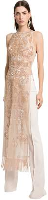 Embellished Silk Tulle Tunic W/ Pants