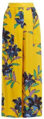 Diane von Furstenberg Floral Print Wide Leg Twill Trousers - Womens - Yellow Print