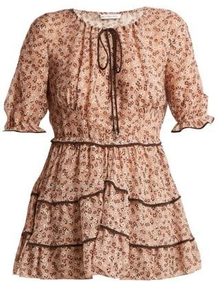 Altuzarra Kona Floral Print Silk Blend Blouse - Womens - Beige Print