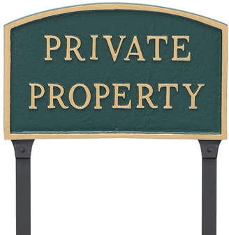 Montague Metal Products Arch Private Property Statement Garden Plaque