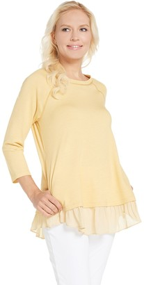 Logo By Lori Goldstein LOGO Lounge by Lori Goldstein French Terry Top with Raglan Sleeve