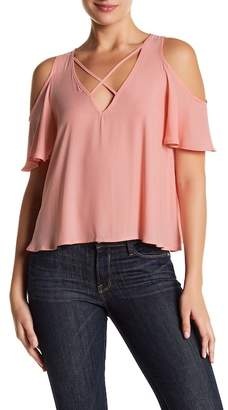 Lush Short Sleeve Strappy Cold Shoulder Blouse