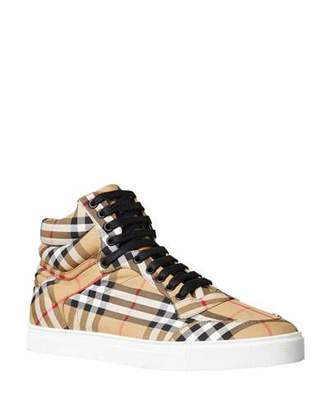 Burberry Men's Reeth Signature Check Canvas High-Top Sneakers