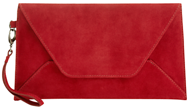 Jigsaw Envelope Suede Clutch, Red