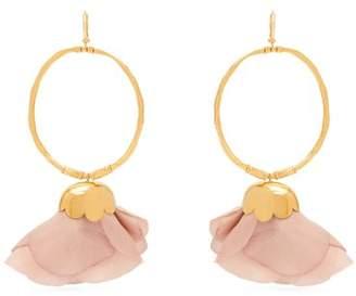 Elise Tsikis - Natura Silk Flower Gold Plated Hoop Earrings - Womens - Pink