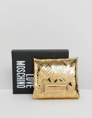 Love Moschino embossed patent logo purse