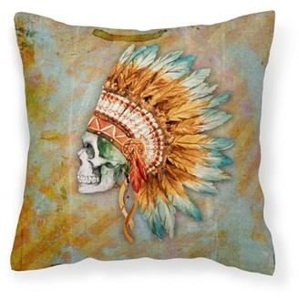 Caroline's Treasures Day of the Dead Indian Skull Fabric Decorative Pillow