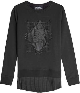 Karl Lagerfeld Embroidered Cotton Sweatshirt with Pleated Hem