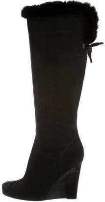 Louis Vuitton Suede Fur-Trimmed Boots