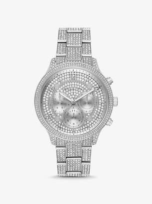e0cb67fc5 Michael Kors Oversized Runway Pave Silver-Tone Watch