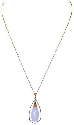 One Kings Lane Vintage 14K Gold & Lilac Jade Pendant Necklace - Little Treasures