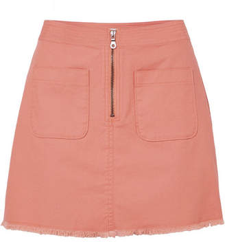 Madewell Frayed Denim Mini Skirt - Pink