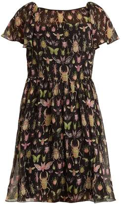 RED Valentino Bug-print crinkle-chiffon dress