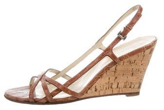 prada Prada Crocodile Wedge Sandals