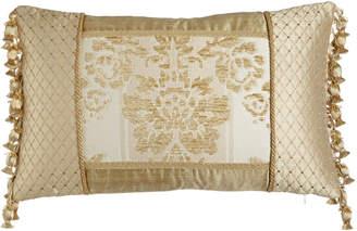 "Horchow Austin Horn Classics Antoinette Pieced Boudoir Pillow with Side Onion-Tassel Fringe, 13"" x 19"""