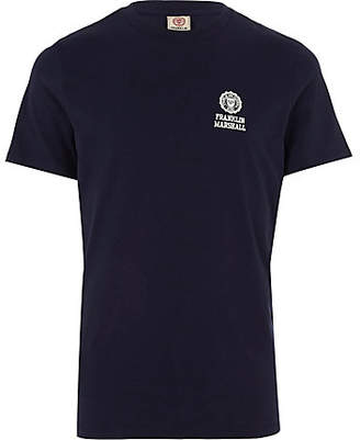 River Island Franklin and Marshall navy crew neck T-shirt