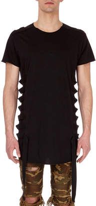 Balmain Long Cotton T-Shirt with Bondage Straps