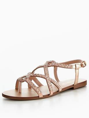 at Littlewoods Head Over Heels Nadia Embellished Strappy Flat Sandal - Rose  Gold