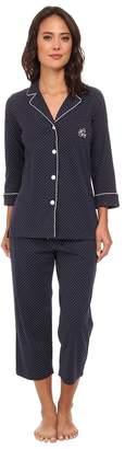 Lauren Ralph Lauren Essentials Bingham Knits Capri PJ Set Women's Pajama Sets