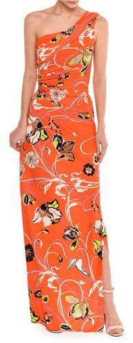 Emilio Pucci Emilio Pucci Draped One-Shoulder Floral Print Gown, Multicolor