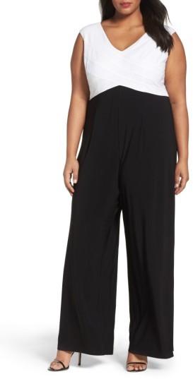 Adrianna PapellPlus Size Women's Adrianna Papell Colorblock Jersey Jumpsuit