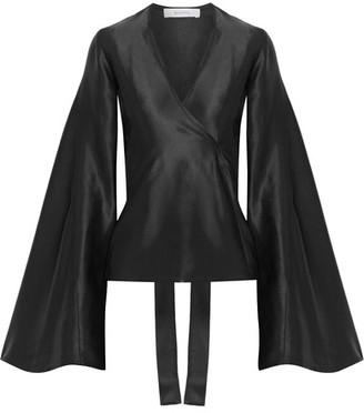 Beaufille - Capella Satin-jacquard Wrap Blouse - Black