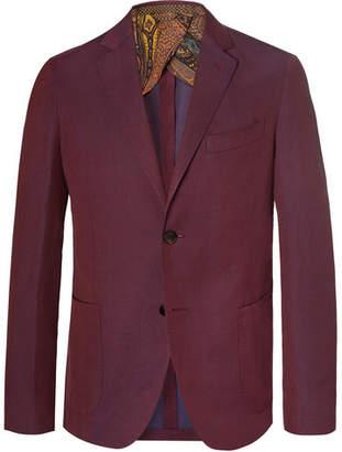 Etro Burgundy Slim-Fit Linen And Wool-Blend Suit Jacket