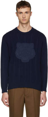 Kenzo Navy Tiger Cable Knit Crewneck Sweater