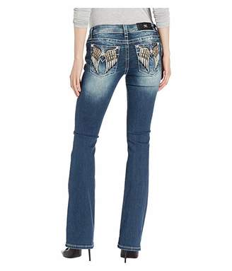 Miss Me Wing Embellished Bootcut Jeans in Dark Blue
