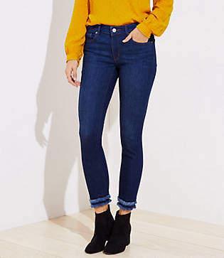 8a8201f1 LOFT Curvy Frayed Cuff Skinny Jeans in Dark Indigo Wash