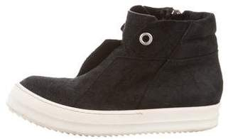 Rick Owens Distressed Round-Toe Sneakers