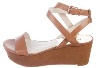 MICHAEL Michael Kors Michael Kors Leather Platform Wedge Sandals