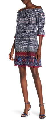 AMERICA & BEYOND Stellar Print Off-the-Shoulder Dress