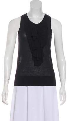 Couture St. John Ruffle-Accented Sleeveless Blouse