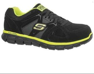 Skechers Size 9-1/2 Alloy Toe Athletic Style Work Shoes, Men's, Black/Lime, D, 77068 -BKLM SZ 9.5