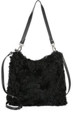 The Fur Salon Sheared Tibetan Lamb Shoulder Bag