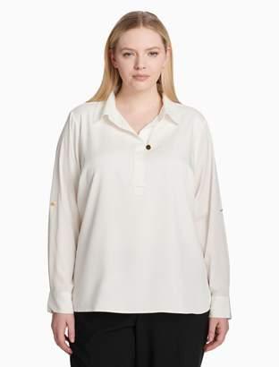 Calvin Klein Plus Size V-Neck Roll Sleeve Top